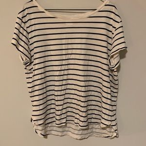 Navy and white striped basic tee from H&M